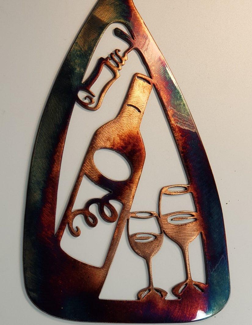 04 canoe paddle wine set Metal Wall Art Metal Dècor Studios