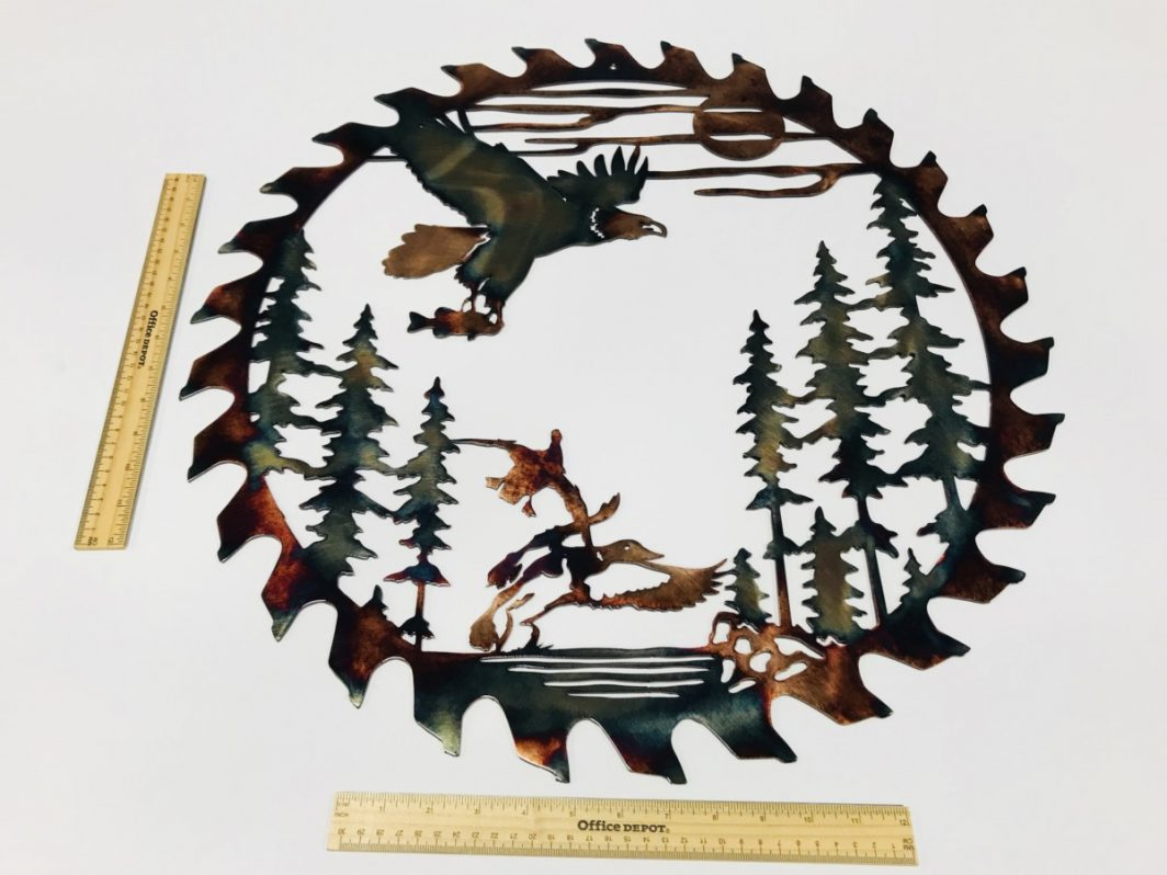 04 fishing eagle sawblade cut out Metal Wall Art Metal Dècor Studios