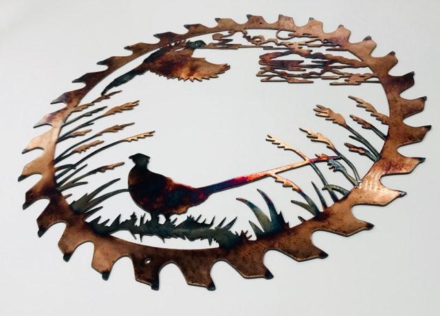 04 pheasant couple sawblade cut out Metal Wall Art Metal Dècor Studios