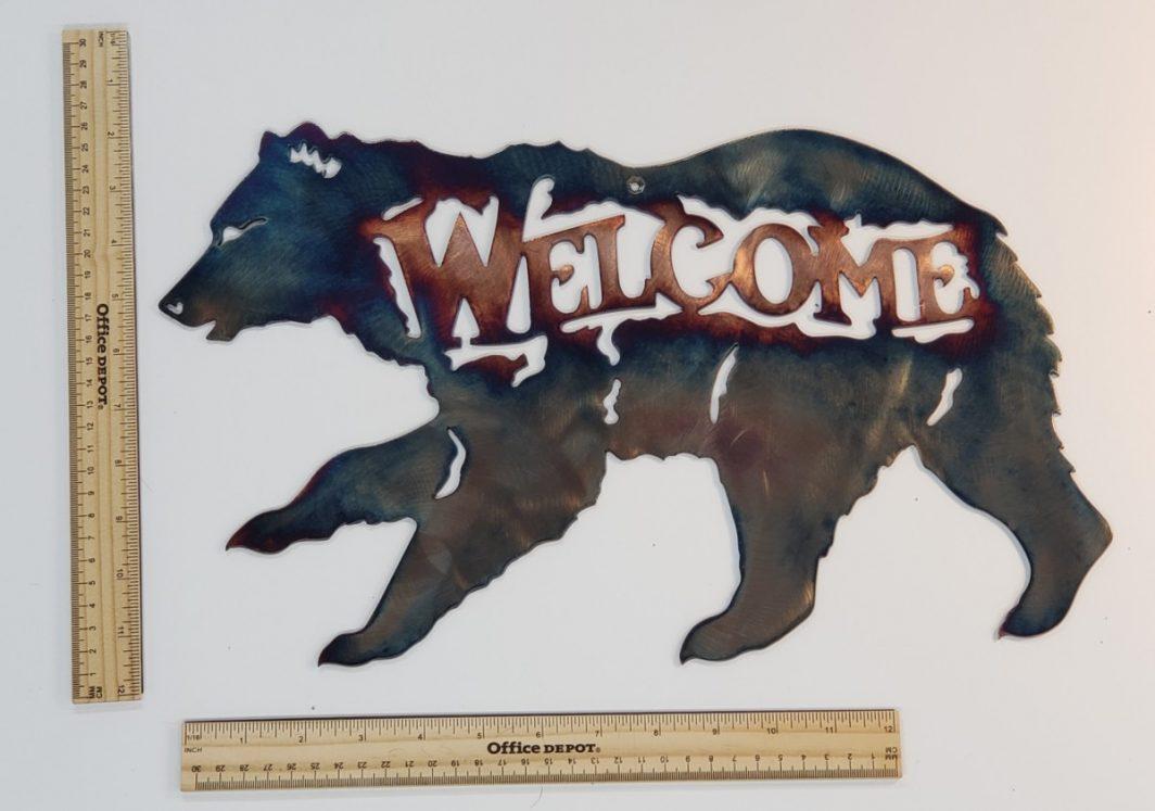 04 running bear welcome Metal Wall Art Metal Dècor Studios
