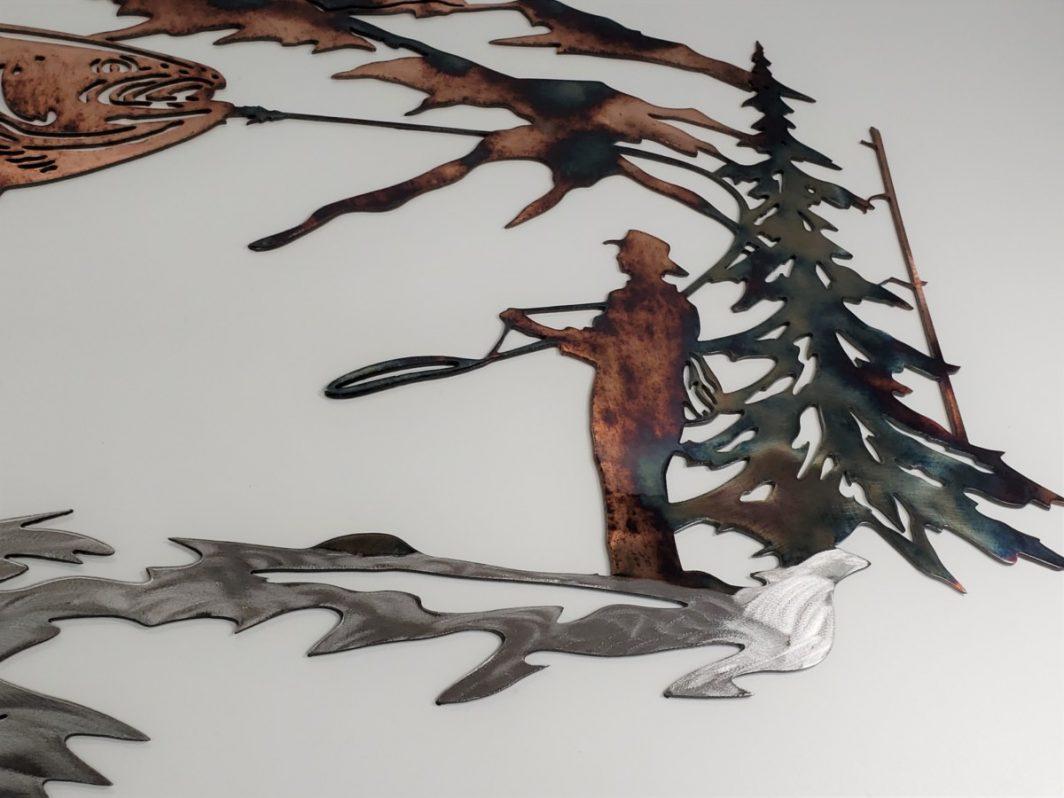 04 up at dawn trout fishing scene Metal Wall Art Metal Dècor Studios