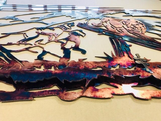 05 Mountain Lion Hunting Dog Wildlife Wall Art Metal Dècor Studios 1 300x259