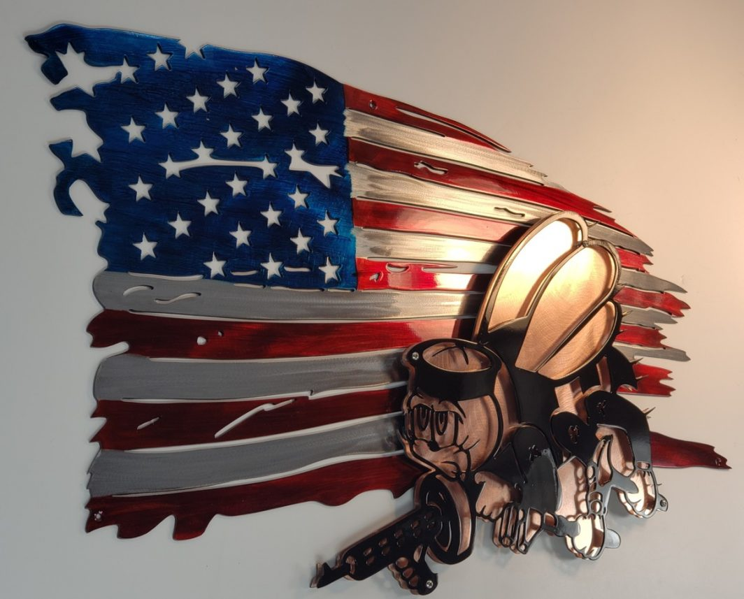 05 tattered flag seabees logo Metal Wall Art Metal Dècor Studios