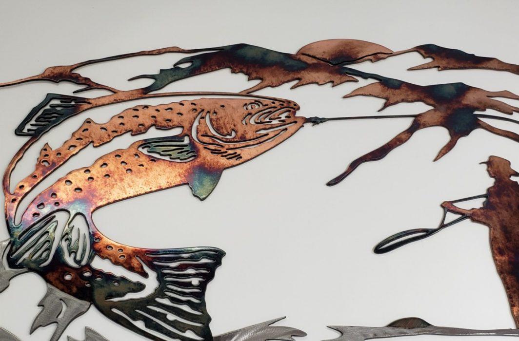 05 up at dawn trout fishing scene Metal Wall Art Metal Dècor Studios