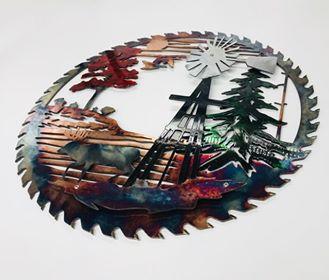 05 windmill sawblade whitetail Metal Wall Art Metal Dècor Studios