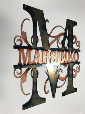 06 monogram Metal Wall Art Metal Dècor Studios