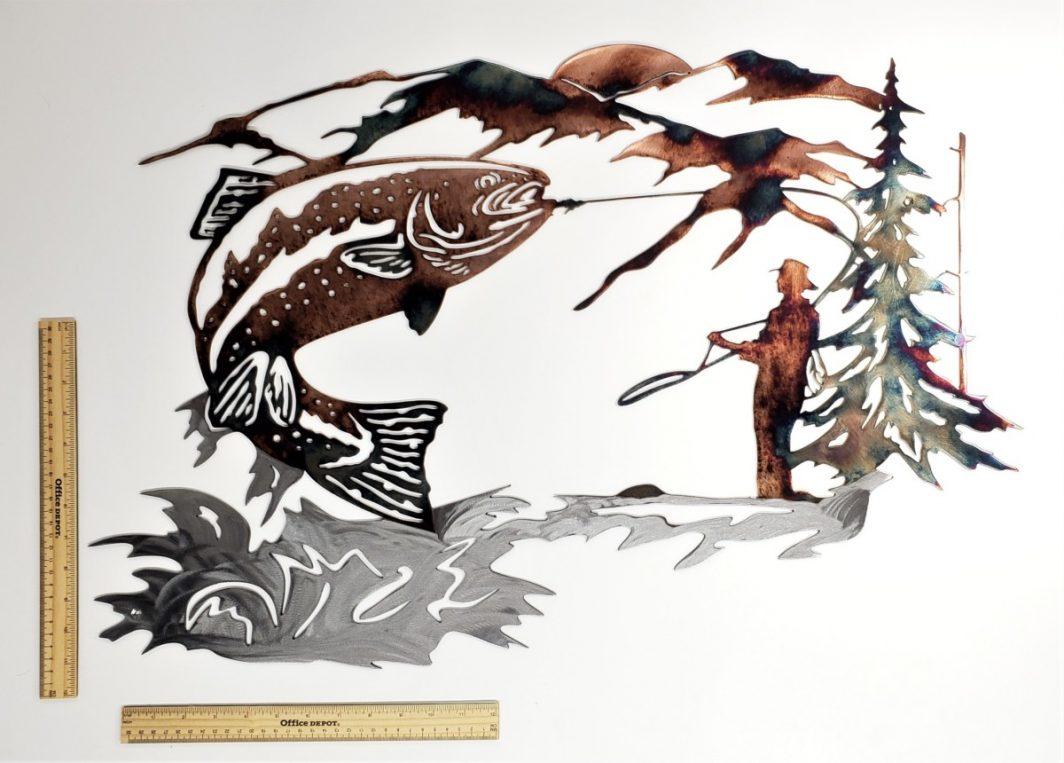 06 up at dawn trout fishing scene Metal Wall Art Metal Dècor Studios