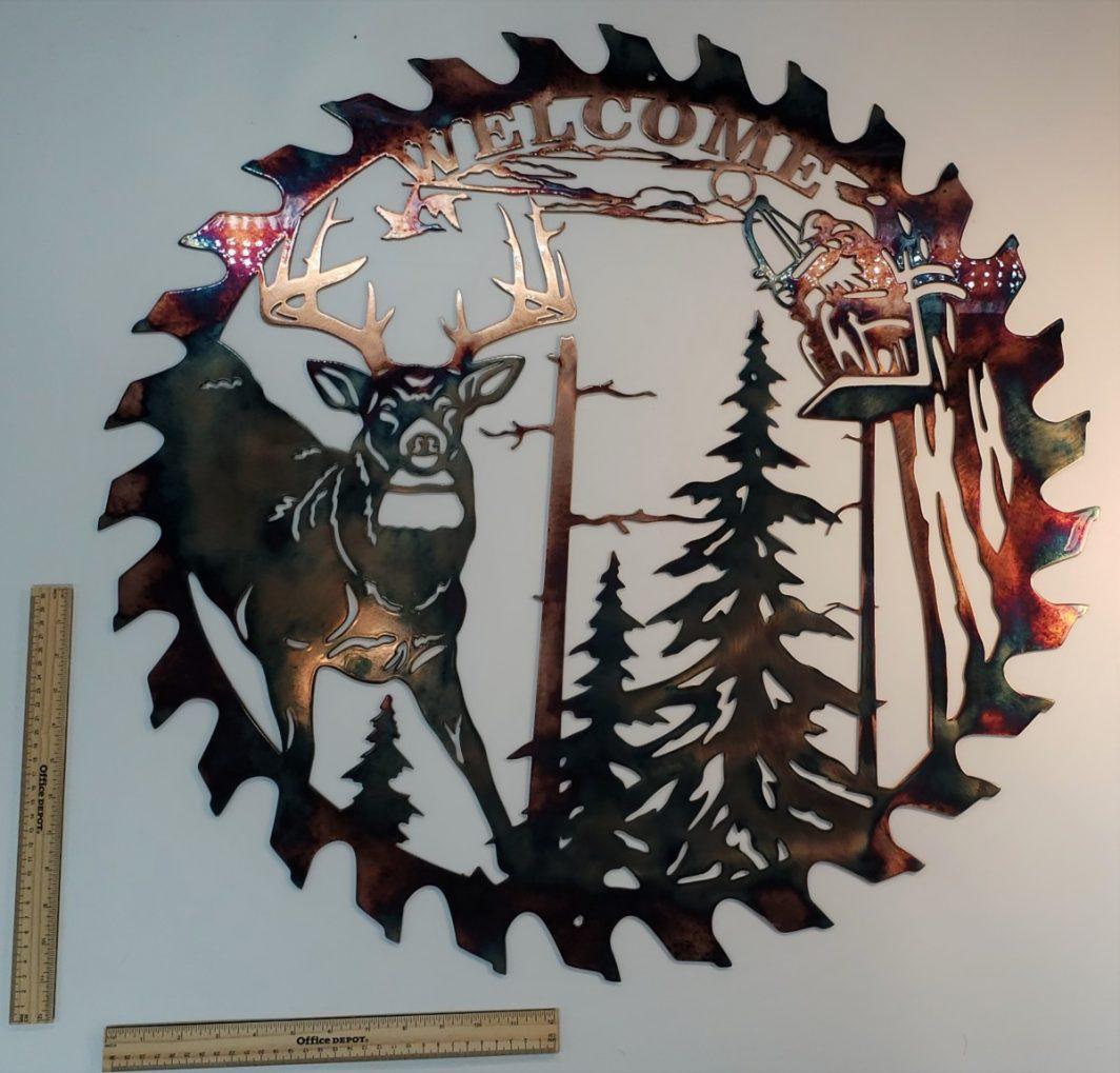 06 whitetail bowhunter sawblade cut out Metal Wall Art Metal Dècor Studios