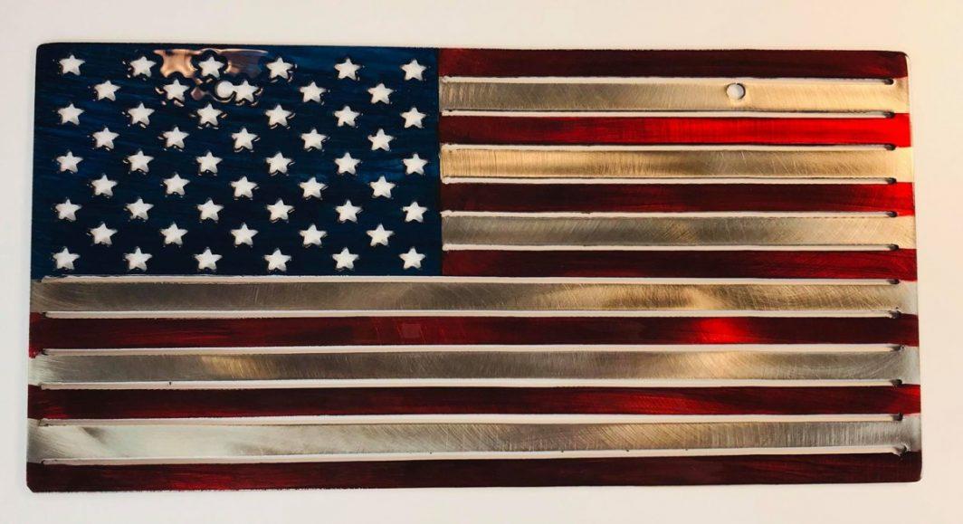 07 american flag liscense plate Metal Wall Art Metal Dècor Studios