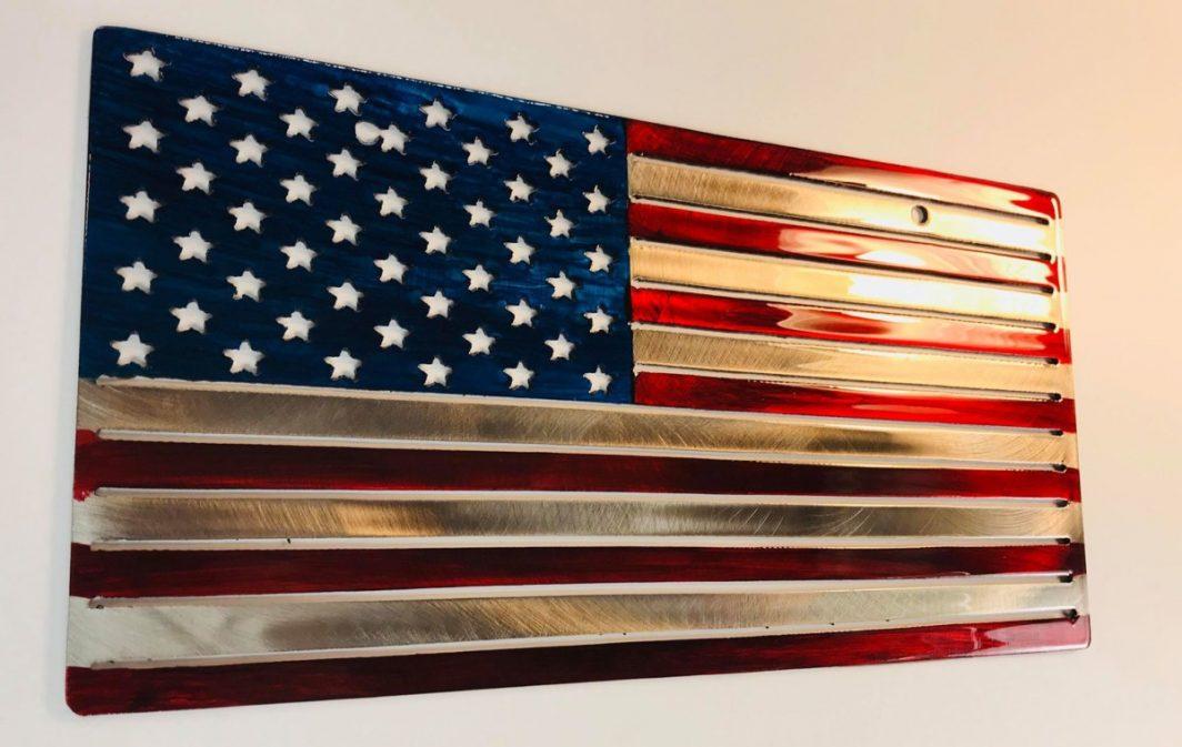 08 american flag liscense plate Metal Wall Art Metal Dècor Studios