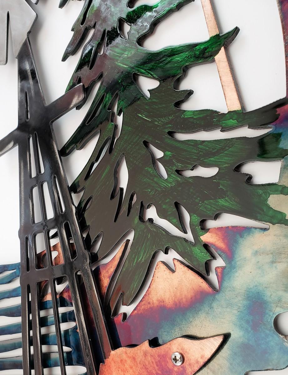 08 windmill sawblade whitetail Metal Wall Art Metal Dècor Studios