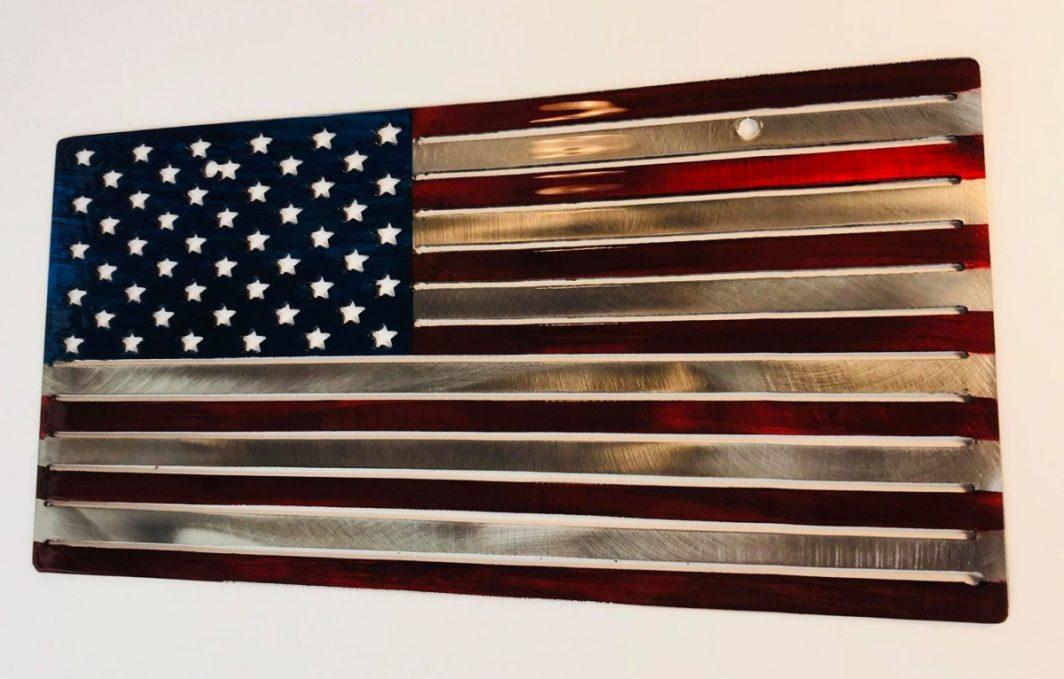 09 american flag liscense plate Metal Wall Art Metal Dècor Studios