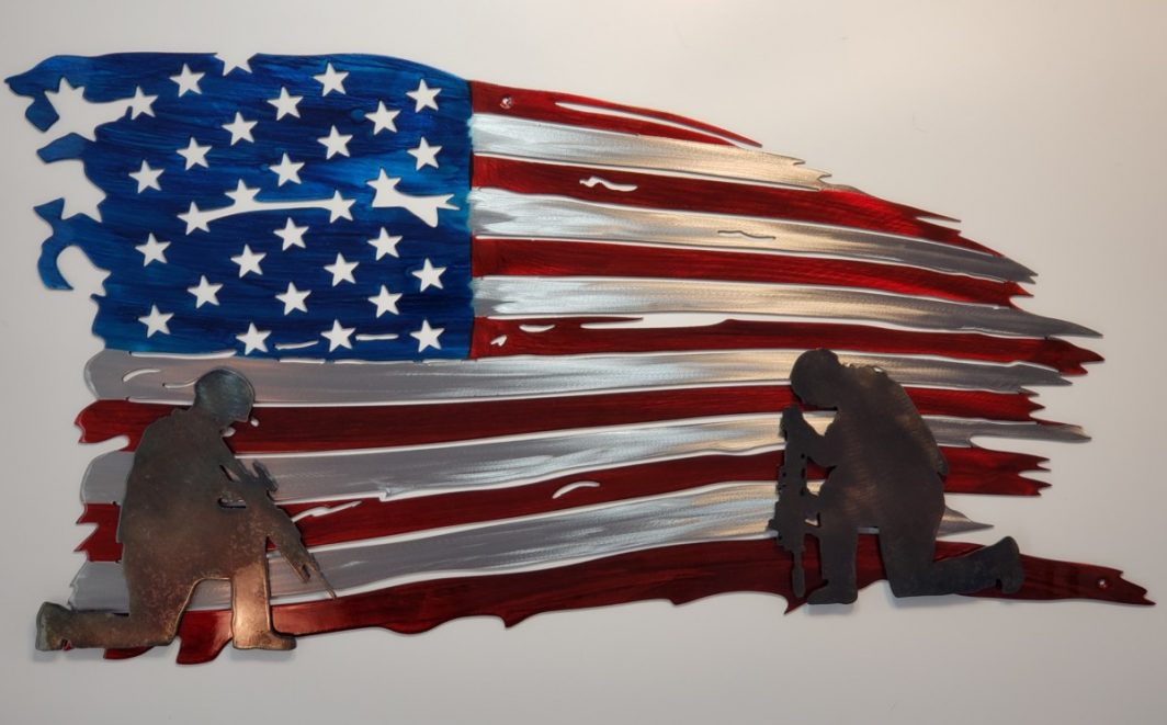 American Flag Art With Soldiers