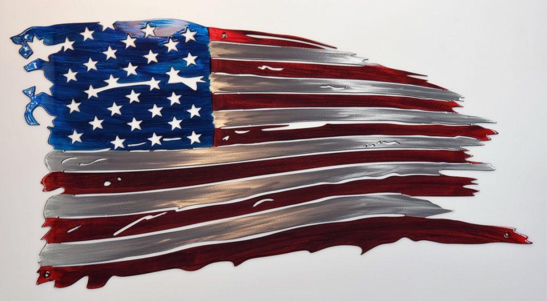 Tattered Metal Flag - US Flag Metal Art