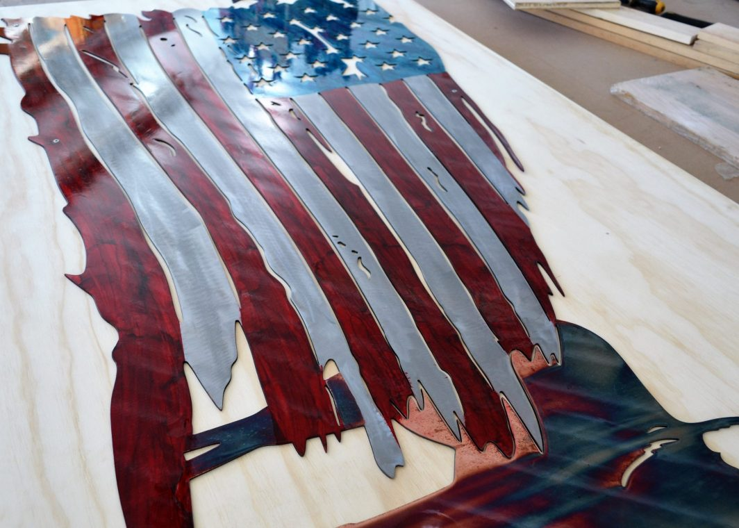 American Flag Art - Whitetail Flag